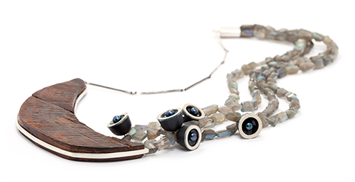 Lydia Buxton. Necklace: Clouded, but Present, 2014. Labradorite, hardwood, ster. silver, resin, freshwater pearls. 32 x 14 x 75cm. Photo: Eliot Wright.