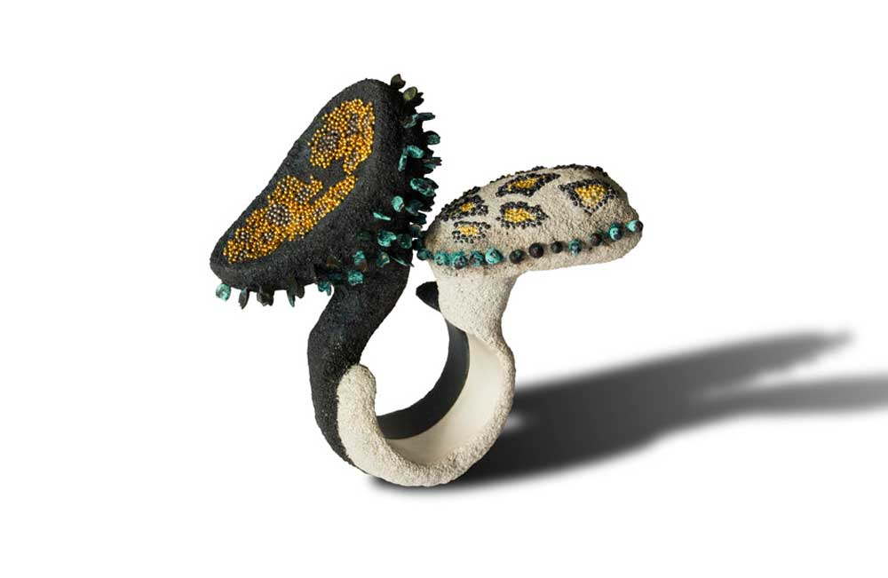 Arata Fuchi. Ring: Breeding 1, 2014. Silver, oxidized silver, silver powder, oxidized silver powder, oxidized shibuichi, fine gold, k18 white gold, palladium.. 5.5 x 5.7 x 2.7 cm.