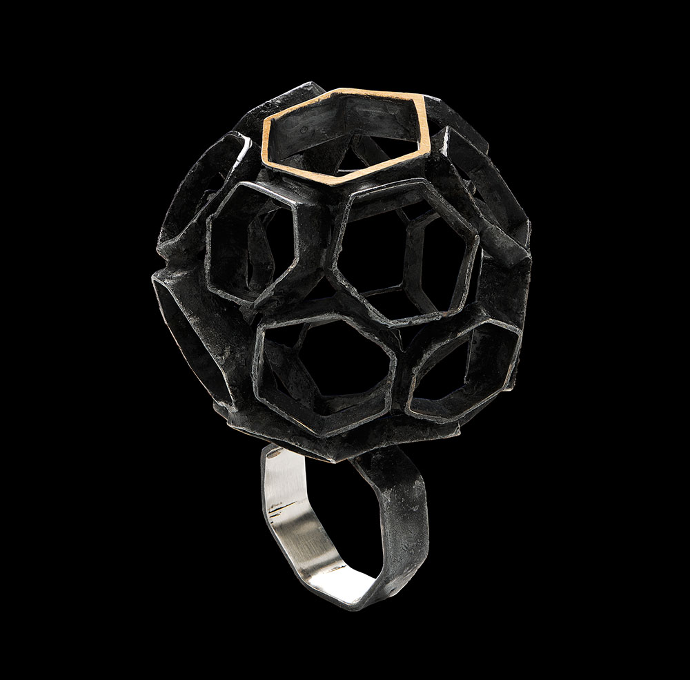Gigi Mariani. Ring: show your ball, 2016. Silver, 18kt yellow gold, niello patina..