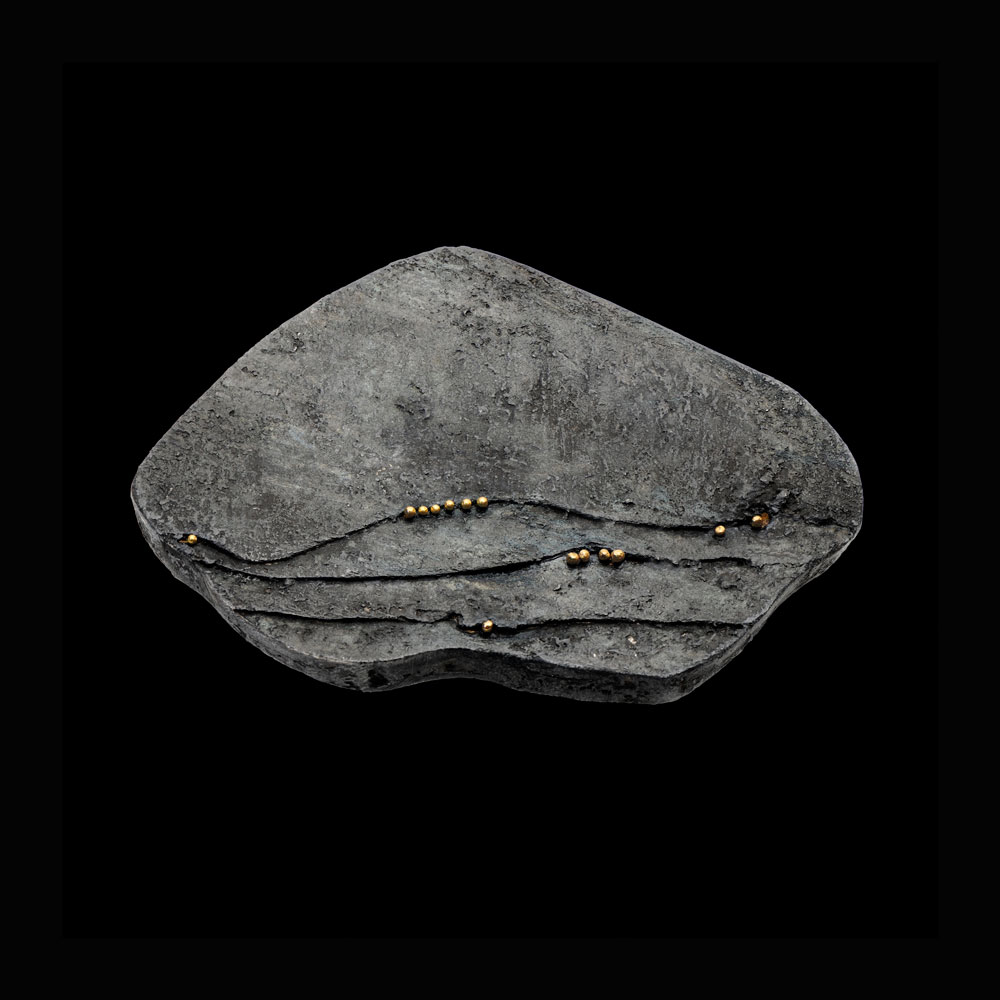 Gigi Mariani. Brooch: Tracks#2, 2016. Silver,18kt yellow gold, niello, patina.. From series: Rocks series.