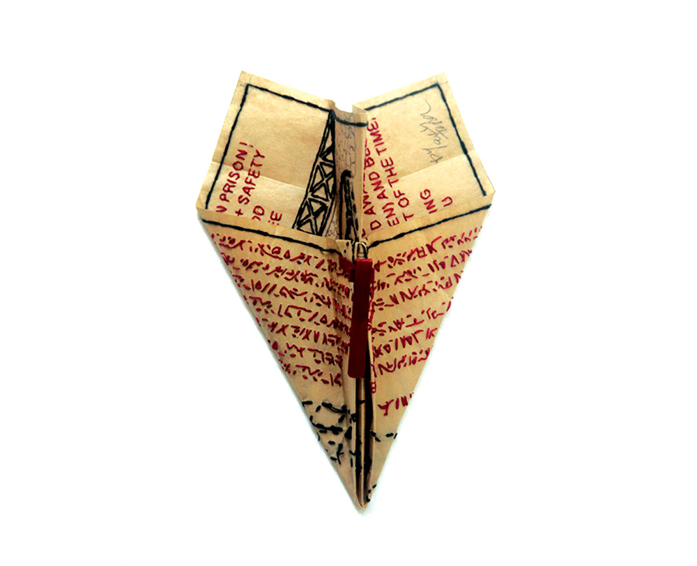 Lucy Ganley. Object: Paper Plane, 2017. Paper bag, cotton thread, tin, acrylic paint. 25 x 20 cm. Awarded at: JPLUS Graduate Award 2017 by Klimt02.